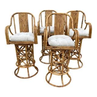 Burnt Bamboo Barstools - Set/4 For Sale