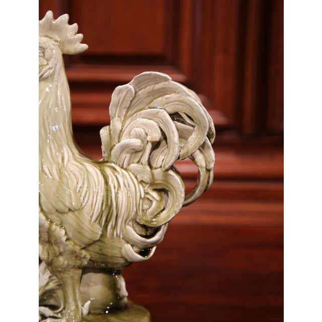 Ceramic 19th Century French Hand-Painted Barbotine Rooster Signed Clement Massier For Sale - Image 7 of 11