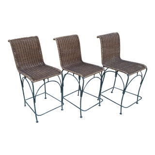 Vintage Wicker & Iron Bar Stools - Set of 3 For Sale