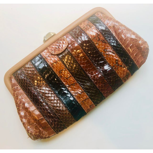 Mid-Century Modern 1980s Vintage Patrizia Multicolored Striped Python Clutch For Sale - Image 3 of 11