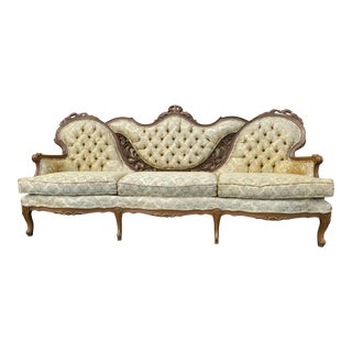 Victorian French Provincial Ivory Gold Settee For Sale