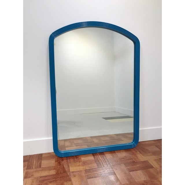 Vintage Mid Century Teal Framed Hotel Wall Mirror For Sale In Seattle - Image 6 of 6