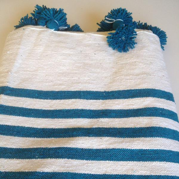 Turquoise Striped Moroccan Blanket with Tassels - Image 3 of 3