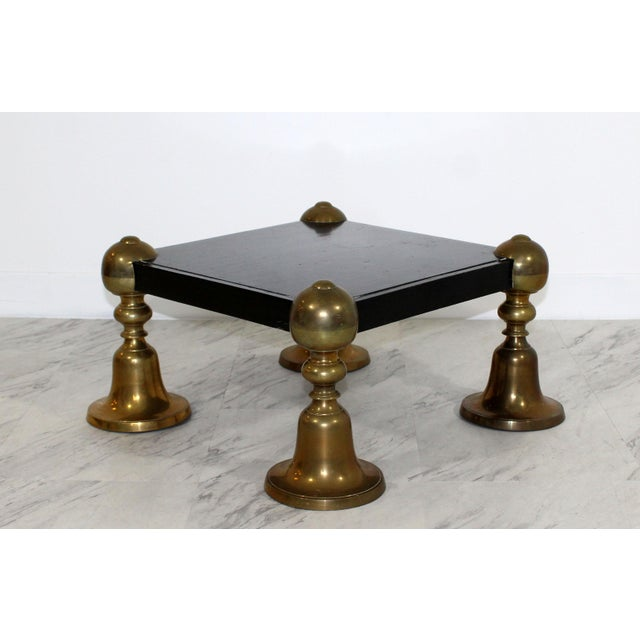 For your consideration is a wonderful, short, square black painted wood pedestal, with brass legs, circa 1960s. In...