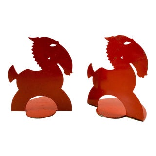 Art Deco Red Horse Bookends For Sale