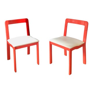 70s Red Plastic Space Age Chairs - a Pair For Sale