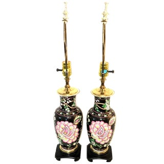 Vintage Black Ginger Jar Lamps - A Pair