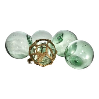 Green Glass Fishing Floats - Set of 5 For Sale