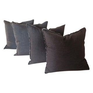 Raw Edge Charcoal Linen Pillows - Set of 4