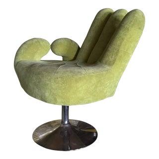 Modern Green Upholstered Hand Chair