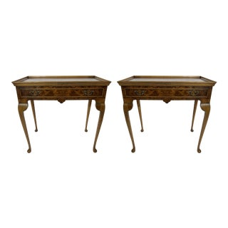 Burlwood Queen Anne Side Tables, a Pair For Sale