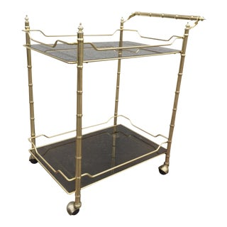 Gold Tone Brass Faux Bamboo Cart