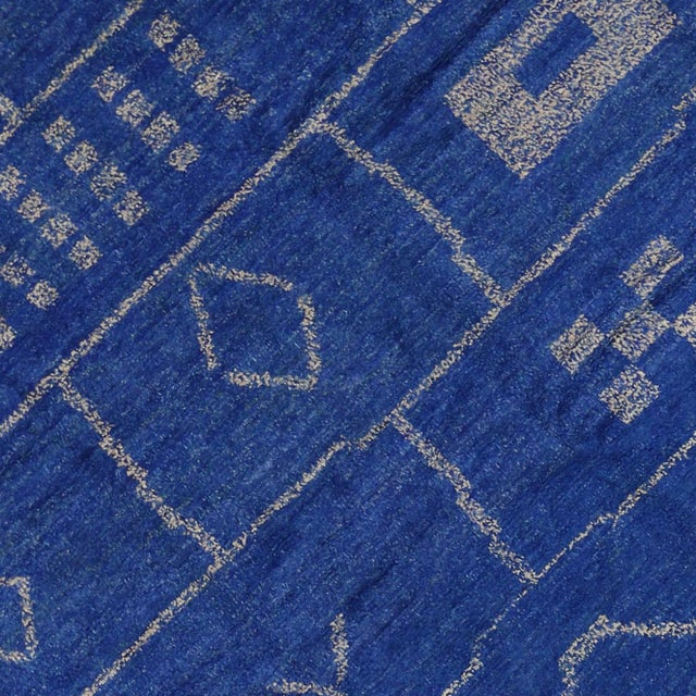 New Contemporary Blue Moroccan Area Rug With Modern Bauhaus Style - 12'4 X 15'3 For Sale - Image 4 of 10