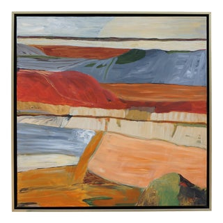 """""""Basin and Range"""" Abstract Landscape Painting by Laurie MacMillan, Framed For Sale"""