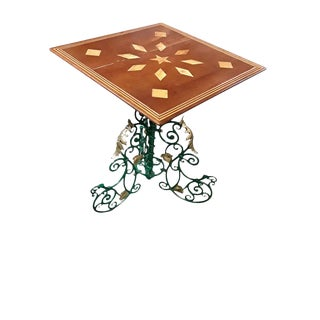 Antique French Art Nouveau Gueridon French Cast Metal Base Marquetry Wine Table For Sale