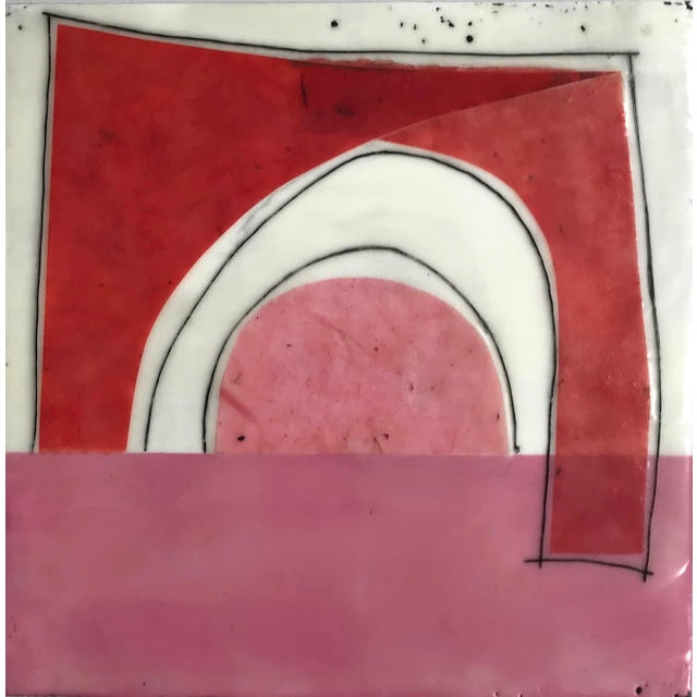 """Contemporary Gina Cochran """"Perceptions No. 15"""" Encaustic Collage Painting For Sale - Image 3 of 8"""