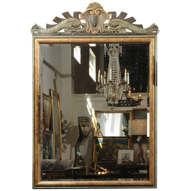 Italian 1850s Baroque Style Painted Mirror, Hand-Carved with Stylized Dolphins For Sale - Image 12 of 12