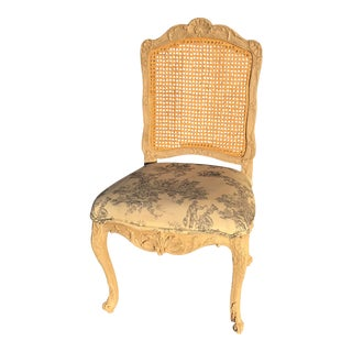 Toile Du Jouy Cane Chair For Sale