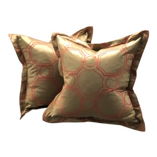 Pair of Jim Thompson Flange Edge Pillows For Sale