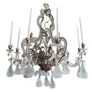 Large Silvered Iron and Rock Crystal, Eight-Arm Chandelier, Bagues