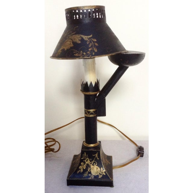 French Antique Black and Gold Tole Lamp For Sale - Image 3 of 4