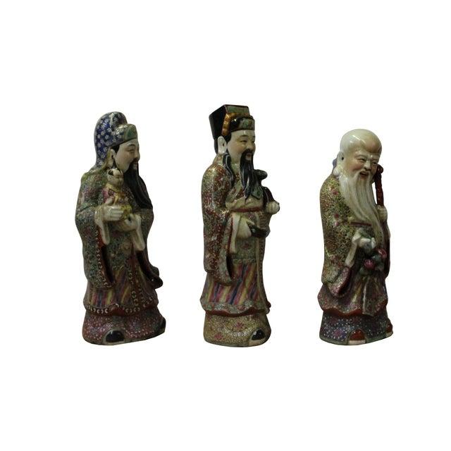 Ceramic Chinese Color Mixed Ceramic SanXing ( 3 Deities ) Fu Lu Shou Figure Se For Sale - Image 7 of 7