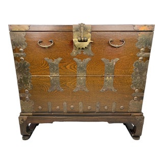 1900s Antique Oriental Bandaji Metal Mounted Chest For Sale