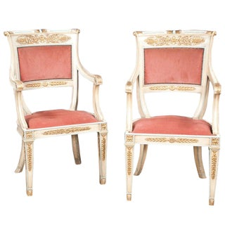 Late 19th Century Pair of Louis XVI Style Painted and Gold Gilt Armchairs For Sale