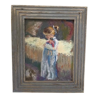 Girl With Doll Original Oil Painting Framed For Sale