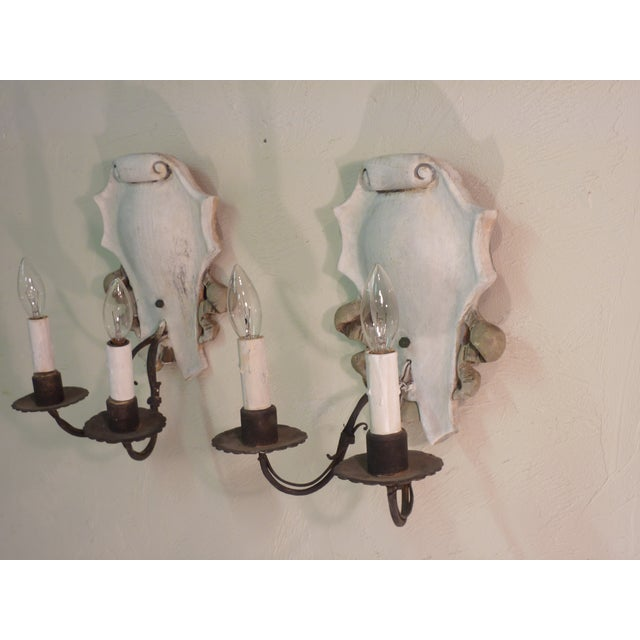 Italian Iron & Painted White Wood Sconces - A Pair - Image 6 of 6