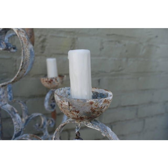 8-Light Painted Italian Chandelier with Drops - Image 5 of 8
