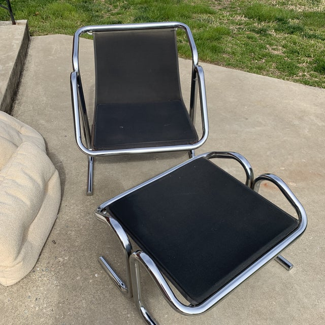 1970s 70s Jerry Johnson Chrome Sling Chair & Ottoman For Sale - Image 5 of 10