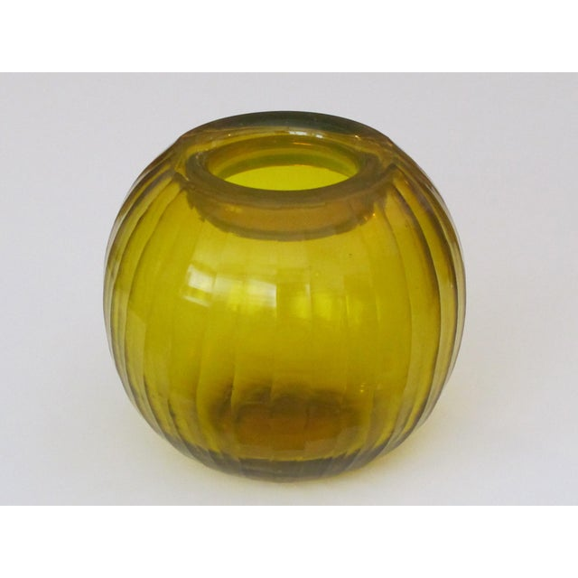 1960s A Well-Executed Bohemian Glass Orb-Form Citrine Colored Vase With Hand-Carved Faceted Decoration For Sale - Image 5 of 5