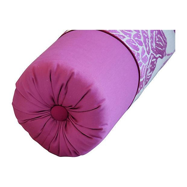 Custom Tailored English Embroidered Linen Bolster Feather/Down Pillow For Sale - Image 5 of 12