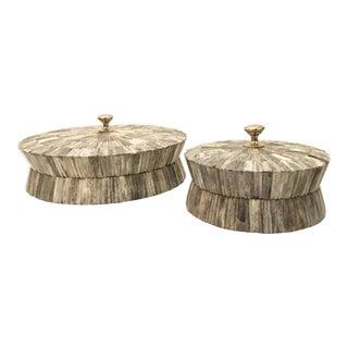 Palecek Round Trevino Gray Bone Boxes - A Pair