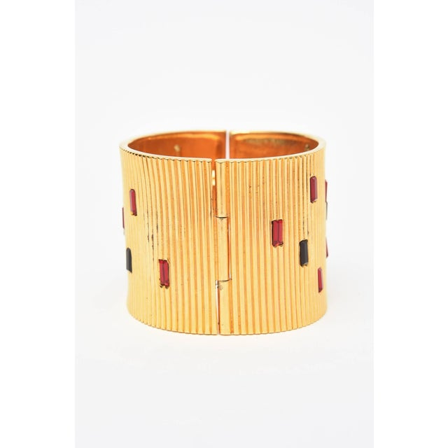Modern Paloma Picasso Glass and Ribbed Gold Filled Cuff Bracelet For Sale - Image 3 of 9