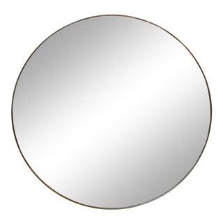 Gio Ponti Style Italian Round Brass Mirror For Sale