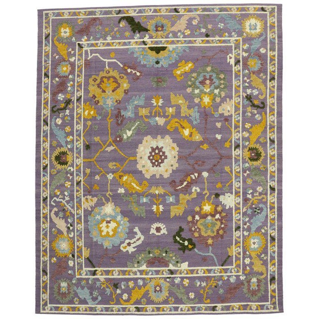 Geometric Oushak High and Low Texture Rug- 10′5″ × 13′2″ For Sale - Image 10 of 10