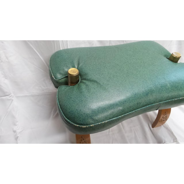 Vintage Camel Saddle Stool with Teal Cushion For Sale - Image 10 of 11