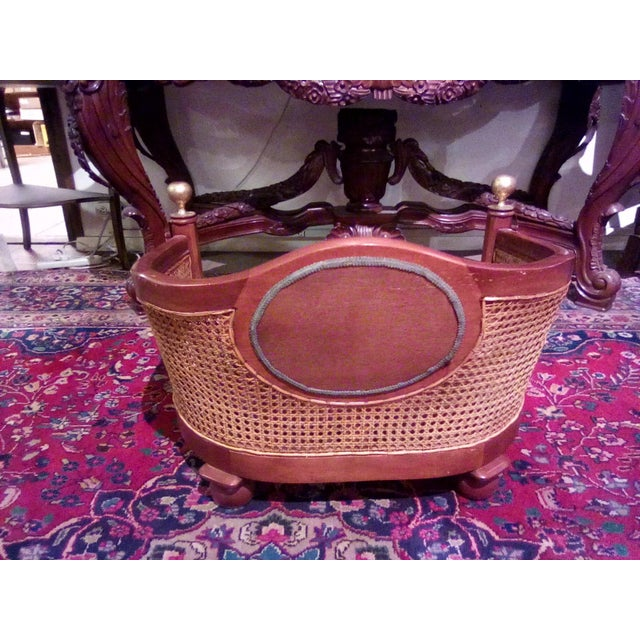 1960s Traditional Caning Wicker Dog Bed With Cushion For Sale - Image 4 of 8