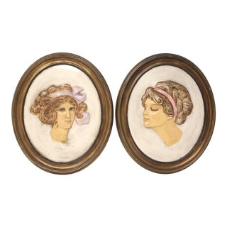 Vintage Chalkware Gibson Girl Decorative Wall Plaques - Set of 2 For Sale