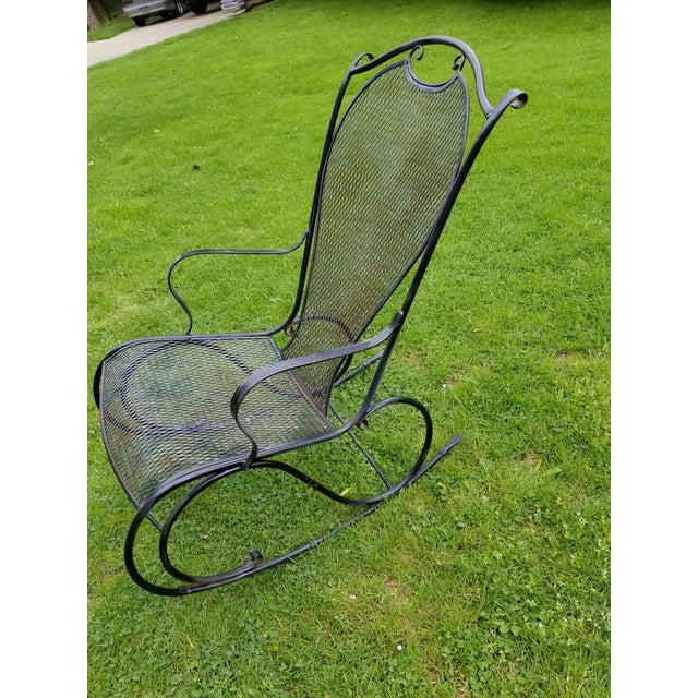 Mid 20th Century Russell Woodard Wrought Iron Rocking Chair For Sale - Image 5 of 11