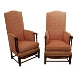 Image of Spanish Revival Carved Oak Lounge Chairs 1920's For Sale
