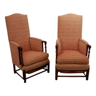 Spanish Revival Carved Oak Lounge Chairs 1920's For Sale
