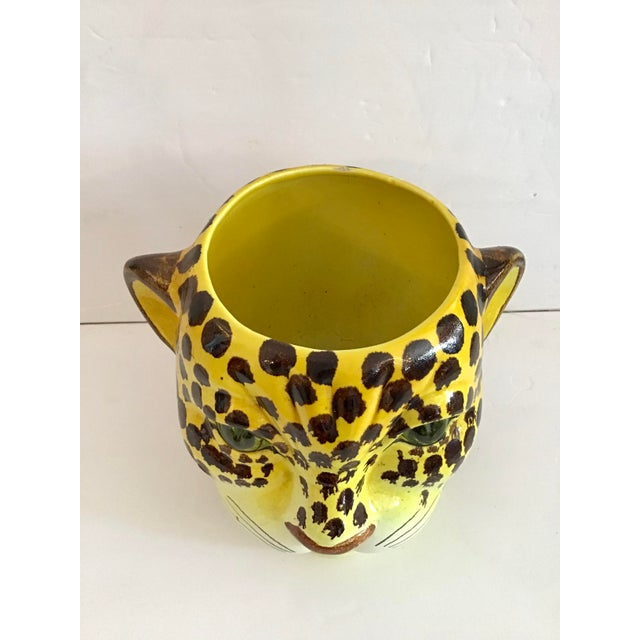 Hollywood Regency 1960s Yellow and Brown Spotted Leopard Cache Pot For Sale - Image 3 of 7