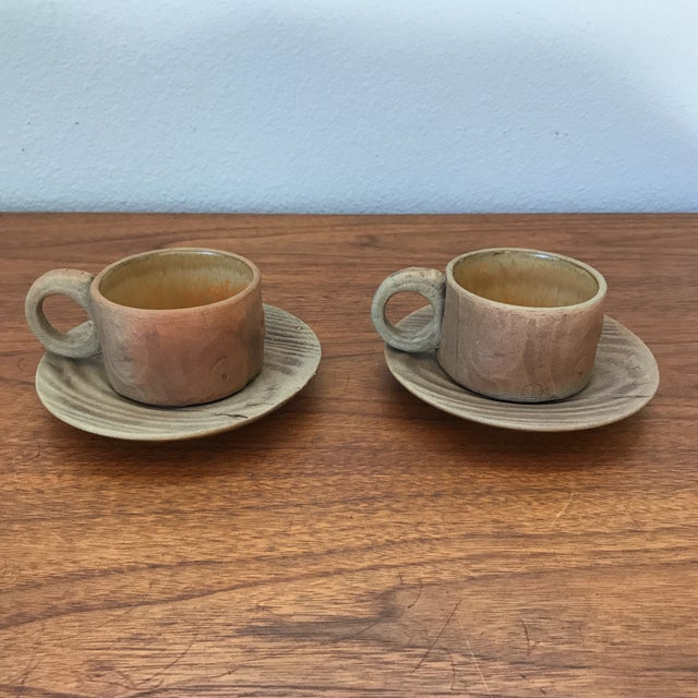 Ceramic Vintage Pottery Mugs With Saucers - Set of 4 For Sale - Image 7 of 11