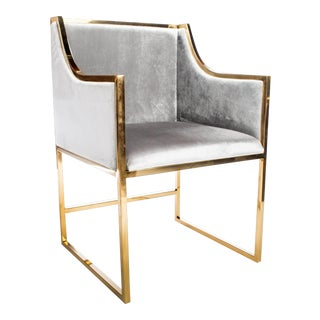 Erin Chrome Gold Dining Chair For Sale
