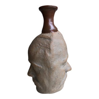 1980s Face Vessel Studio Pottery Weed Pot For Sale
