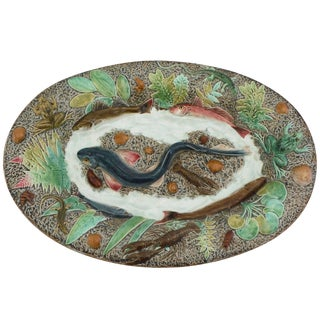 19th Majolica Palissy Fish Wall Platter For Sale