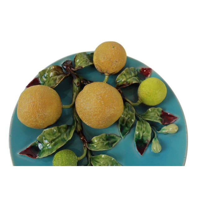 Late 19th Century Menton French Majolica Wall Plaque on Turquoise Ground With Oranges, Circa 1880 For Sale - Image 5 of 9